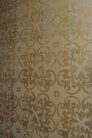 Marblehead:<br /> The hand stenciled wallpaper in the  livingroom at the house at 147 Washington Street which was built in the mid-18th century. It is owned by Pat Lausier.<br /> Photo by Ken Yuszkus/Salem News, Thursday, October 27, 2011.