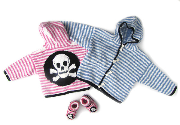 Skull and crossbone hodie sweaters and booties, Pint Size and Up