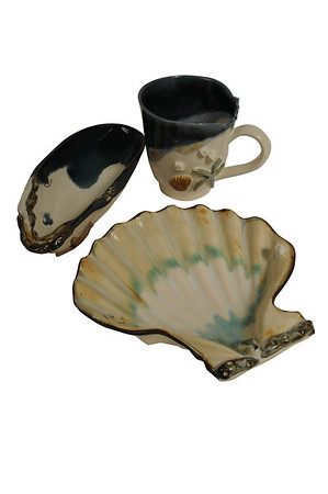 Beverly:<br /> Mussels and More Pottery, serving dishes. Various items found in Marblehead.<br /> Photo by Ken Yuszkus/Salem News, Thursday, October 6, 2011.