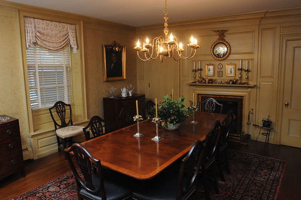 Marblehead:<br /> The diningroom at the house at 147 Washington Street which was built in the mid-18th century. It is owned by Pat Lausier.<br /> Photo by Ken Yuszkus/Salem News, Thursday, October 27, 2011.