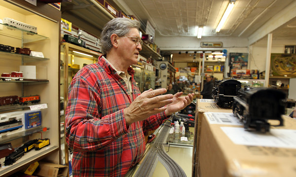 Don Stubbs, of Marblehead, owns North East Trains in Peabody Square. David Le/Staff Photo