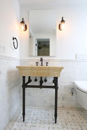 KEN YUSZKUS/Staff photo.      The bathroom on the 2nd floor in Blair Porter's home in Marblehead.    2/10/16