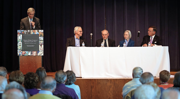 DAVID LE/Staff photo. David Shribman, Executive Editor of the Pittsburgh Post-Gazette, left, with panelists The Rev. Dr. Jim Antal, Minister and President of the Massachusetts Conference of the United Church of Christ, Sol Gittleman, a history and literature professor at Tufts University, Martha Minow, the Morgan and Helen Chu Dean and Professor of Law at Harvard Law School, and Paul G. Kirk Jr., former Senator of Massachusetts, at a forum about Religion in the Public Square, a forum held at Temple Emanu-El in honor of Norma Marks Shribman. 4/14/16.