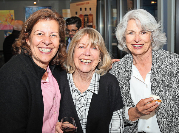DAVID LE/Staff photo. Jo-Ann Murphy, of the Marblehead Festival of Arts, Jocelyne Poisson, and Karen McMahon, of Marblehead, at the Marblehead Works Launch Party held at The Landing Restaurant on Thursday May, 19, 2016. Marblehead Works is a new e-commerce platform that allows numerous small businesses and artisans in Marblehead to have the opportunity to compete in the online marketplace. 5/19/16.