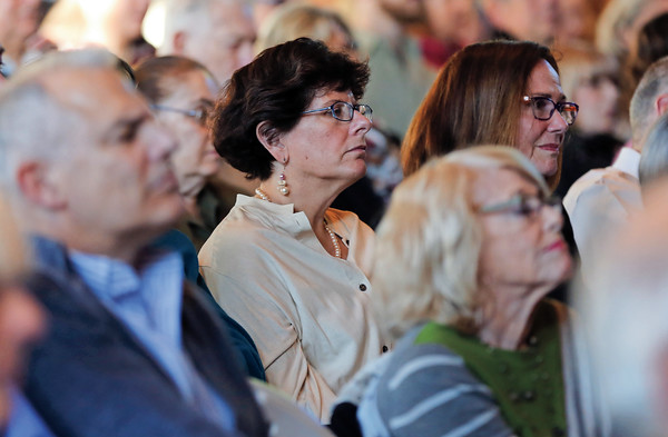 DAVID LE/Staff photo. An audience member listens to a forum about Religion in the Public Square, a Forum held at Temple Emanu-El in honor of Norma Marks Shribman. 4/14/16.
