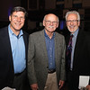 DAVID LE/Staff photo. From left, Jim Nye, President of National Grand Bank, Gene Arnould, of Arnould Gallery, and Anthony Silva, of Marblehead, at the annual Marblehead Festival of Arts auction night held at Abbott Hall on Saturday April, 9, 2016. 4/8/16.