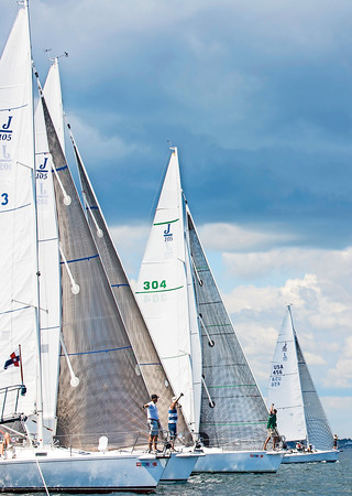 AMANDA SABGA/ Staff photo <br /> <br /> The J105 class lines up as sailors partake in the Helly Hansen NOOD Regatta at the 126th Marblehead Race Week.<br /> 7/24/15