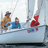 AMANDA SABGA/ Staff photo <br /> <br /> Bill and Renee Heffernan release the sail on their Rhodes 19, Sweep, during the Helly Hansen NOOD Regatta at the 126th Marblehead Race Week.<br /> 7/24/15