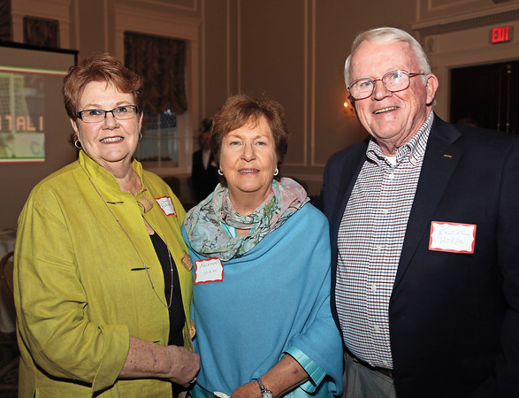 DAVID LE/Staff photo. Anne Bontaites, left, with Maureen and Walter Horan, all of Marblehead, at the Marblehead Youth Soccer Association 40th Anniversary Gala held at the Hawthorne Hotel. 5/17/16.