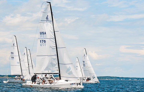 AMANDA SABGA/ Staff photo <br /> <br /> J70 class sailors take off at the sound of the gun during the Helly Hansen NOOD Regatta at the 126th Marblehead Race Week.<br /> 7/24/15