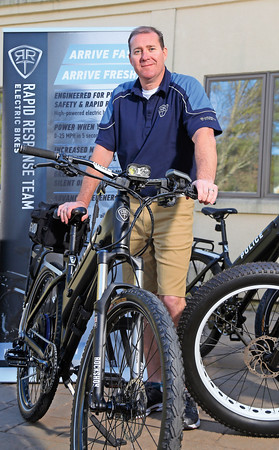 DAVID LE/Staff photo. Adam Rand, of Marblehead, is a maker of electric bikes that are being distributed and used by many local law enforcement patrol units including in town at the Marblehead Police Department. 4/21/16.