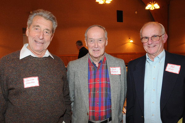 Marblehead:<br /> From Gradea, Dick Farrell, and Bob Till, played football for Marblehead, attended the Marblehead-Swampscott annual 'Old-Timers Night' at the Gerry 5 Club in Marblehead.<br />  Photo by Ken Yuszkus / The Salem News, Monday, November 25, 2013.