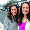 Ken Yuszkus/Staff photo: Tracy Orloff, left, and Stephanie Curran are known as the Property Twins in Marblehead. They are standing on Atlantic Avenue. Shot 140116.