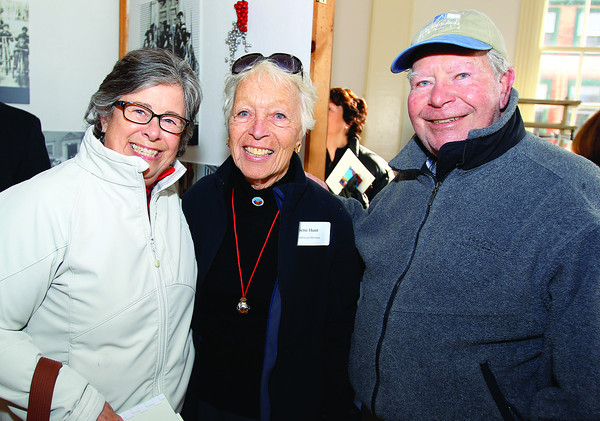 Marblehead: From left, Day Gotschall, Bette Hunt, and Bob Gotschall, at the reopening ceremony of Old Town Hall in Marblehead. DAVID LE/Staff Photo