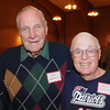 Marblehead:<br /> Dave Bartlet, left, and Danny Sullivan, played football for Marblehead, attended the Marblehead-Swampscott annual 'Old-Timers Night' at the Gerry 5 Club in Marblehead.<br />  Photo by Ken Yuszkus / The Salem News, Monday, November 25, 2013.