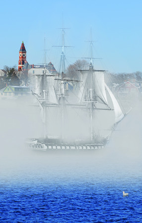 "Photo illustration by Ken Yuszkus for ""it happened here"". The USS Constitution in Marblehead Harbor."
