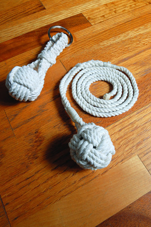 Ken Yuszkus/Staff photo: Marblehead:  Jim Keating is a retired science teacher who runs a business called The Marlinspike Sailor of Marblehead. These are monkey's fists that he created. 2/18/14