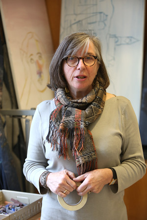 KEN YUSZKUS/Staff photo.  Pascale Queval, a native of France, has been teaching art in Marblehead for at least two decades, and recently had a show of her work at Marblehead Public Library.   01/15/15