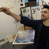 Marblehead: Twenty-six year old Nicholas Mancini, of Swampscott, is one of a handful of local artists who have studio space at Brush Strokes Gallery on Prospect St. in Marblehead. David Le/Marblehead Home & Style