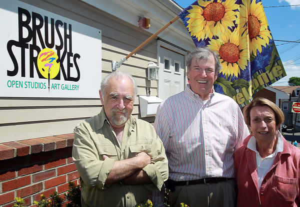 Marblehead: From left, Marty Riskin, Art Director at Brush Strokes, Jon Corbino, owner of Brush Strokes, and his wife Geri. David Le/Marblehead Home & Style