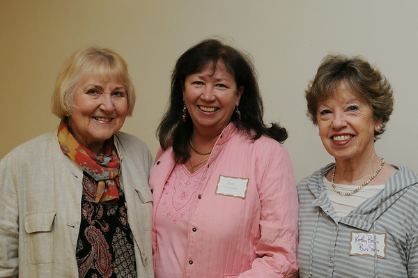 """KEN YUSZKUS/Staff photo.  From left, Nancy Ferguson of Pink House on Gerry, Dee Vigneron of Coldwell Banker, and Kathy Bruin of Bus Stop attend the breakfast at the Marblehead Chamber of Commerce where NOBMG publisher Karen Andreas was presenting """"Forward Thinking Communications Strategies — Top of Your Game"""".  5/22/14."""