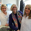 From left, Kelley Callahan, owner of Papermoon, and Joanne Paul and Patty Sherry, both of Swampscott at a wine and cheese tasting at Papermoon during Marblehead's Spring Fling on Saturday afternoon. DAVID LE/Staff photo. 4/12/14