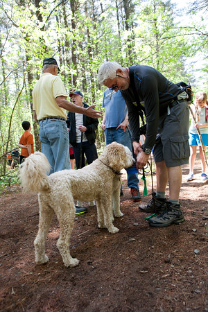 AMY SWEENEY/Staff photo. <br /> Freddie Piccinni from Lynnfield gives Annie a drink half way through the walk at Harold Parker State Forest.<br /> The Park Interpreter and volunteer leaders guide a slow paced walk through the forest while enjoying nature at its finest. Each week we hike to a different part of the forest for a series of 12 hikesMay 25, 2016