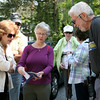 AMY SWEENEY/Staff photo. <br /> Barbara Bartley, left, Susan Piccole, both from Middleton and Freddie Piccinni from Lynnfield look at a map of Harold Parker State Forest before their Wednesday walk in the forest. The Park Interpreter and volunteer leaders guide a slow paced walk through the forest while enjoying nature at its finest. Each week we hike to a different part of the forest for a series of 12 hikes.<br /> May 25, 2016