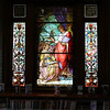"KEN YUSZKUS/Staff photo.      One of the three Middleton's Flint Public Library's stained glass windows. This one is named ""Wisdom and Understanding"".    05/18/16"
