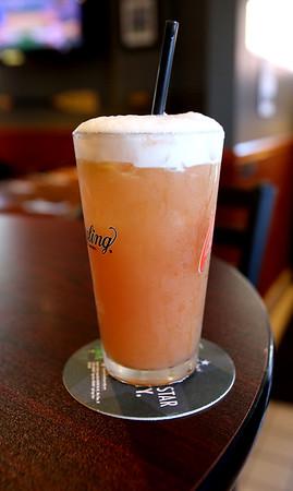 "KEN YUSZKUS/Staff photo.   Drink called ""The Oz"" at Champion's Pub in Peabody.    07/12/16"