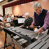 KEN YUSZKUS/Staff photo.     Paul Kelley plays the vibraphone in the Golden Echoes Dance Band at the Peter A. Torigian Senior Center in Peabody.      06/16/16