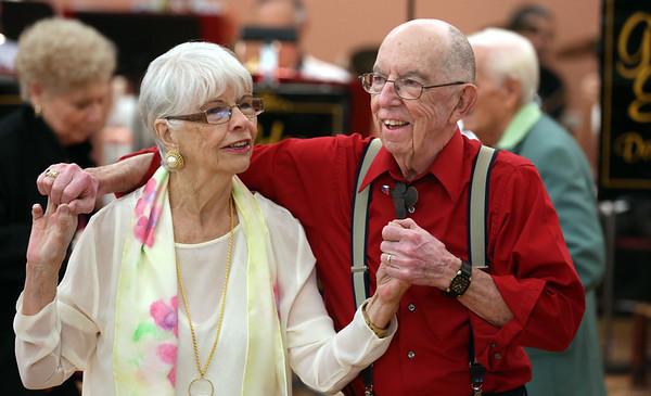 KEN YUSZKUS/Staff photo.      Barbara Leger and Walter Osgood dance to the music of the Golden Echoes Dance Band at the Peter A. Torigian Senior Center in Peabody.        06/16/16