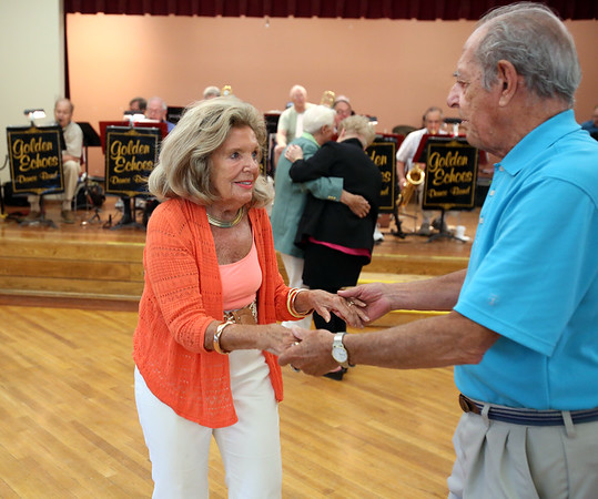 KEN YUSZKUS/Staff photo.    Barbara Therrien and her dancing partner Dan Scotina dance to the music of the Golden Echoes Dance Band at the Peter A. Torigian Senior Center in Peabody.           06/16/16