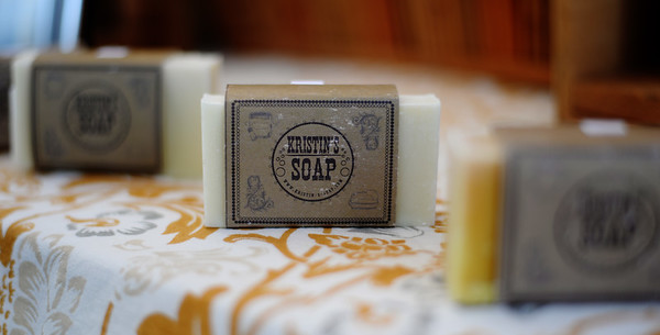 PAUL BILODEAU/Staff photo. A bar of Kristen's Soap, which sells for $5 during the Peabody's Farmers' Market, which is held at City Hall on Tuesday from 1-6:30pm.