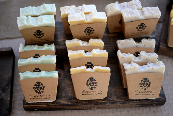 PAUL BILODEAU/Staff photo. Bars of Esperanza Soap from the Dominican Republic sell for $5.99 during the Peabody's Farmers' Market, which is held at City Hall on Tuesday from 1-6:30pm.