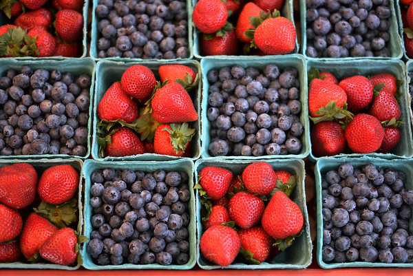 PAUL BILODEAU/Staff photo. Strawberries and blueberries from Hereford Vally Farms,  which sell for $5 a pint during the Peabody's Farmers' Market, which is held at City Hall on Tuesday from 1-6:30pm.