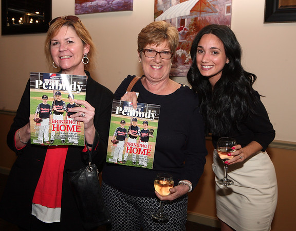 AMY SWEENEY/Staff photo. Abby Grant, left, from the Enterprise Center, Dr. Joan McCormack, from and Monica Lambresa, from Peabody Magazine. Peabody Magazine launch Party held at Toscana's Ristorante May 12, 2016
