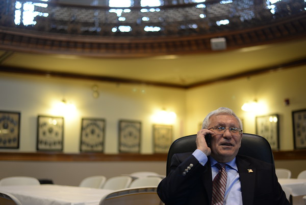 PAUL BILODEAU/Staff photo. Former Peabody Mayor Michael Bonfanti in Peabody City Hall's Wiggin auditorium.