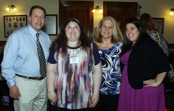 DAVID LE/Staff photo. The Bentas family, Mike, Kayla, Jean, and Vanessa (Joslin), at the annual Mary Upton Ferris Award ceremony held in the Wiggin Auditorium at Peabody City Hall. Kayla was the 2016 award recipient. 4/12/16.