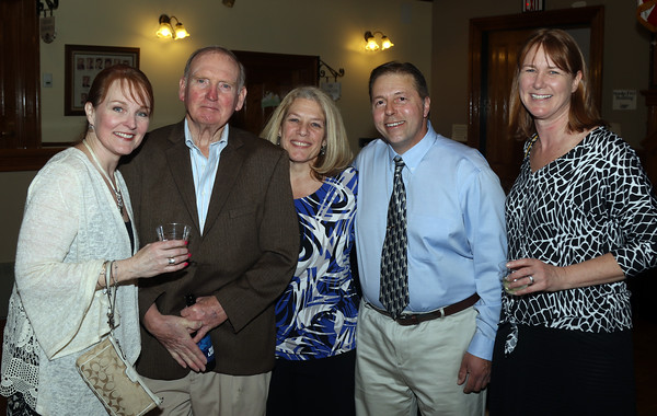 DAVID LE/Staff photo. From left, Janet Murphy, Bill Murphy, Jean and Mike Bentas, and Shannon Barnes, all of Peabody, at the annual Mary Upton Ferris Award ceremony held in the Wiggin Auditorium at Peabody City Hall. 4/12/16.