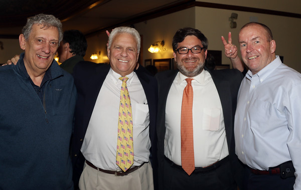 DAVID LE/Staff photo. From left, Peter Sakelakos, of Peabody, Peabody School Superintendent Herb Levine, School Committee Member Jarrod Hochman, and Peabody City Councillor Tom Gould, at the annual Mary Upton Ferris Award ceremony held in the Wiggin Auditorium at Peabody City Hall. 4/12/16.