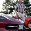 PAUL BILODEAU/Staff photo. Ron Morneau of Vettes for Vets next to his 2014 Corvette hanging out at a Corvette cruise night.  Note: These photos where shot at a Vettes cruise night a Sylvan Street grill, which had nothing to do with the Vets to Vettes program.