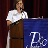 DAVID LE/Staff photo. Deanne Healey, President of the Peabody Area Chamber of Commerce, speaks at Mary Upton Ferris Award ceremony on Tuesday 4/12/16. 4/12/16.