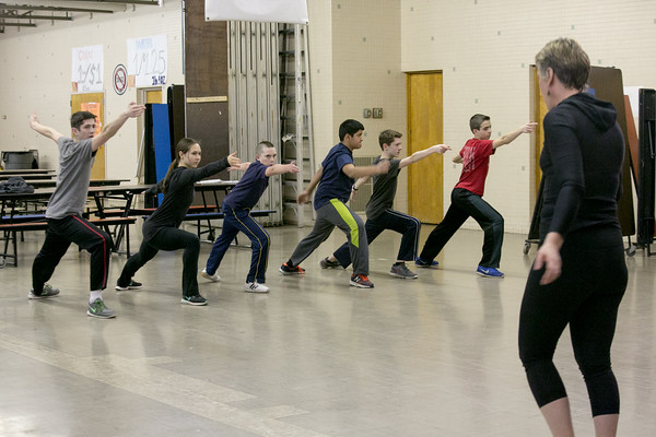 Photo/Reba Saldanha  Molly Sliney leads the Tanner City Fencers Club at Higgins Middle School Wednesday April 6, 2016  Participants (from left) are Cam Santos of Groveland, Jillian Wong of Haverhill, Jordan Sweeney of Salem, Pranav Abbott of Andover, Wyatt Carlton of Groveland and Alex Vassilopoulos of Andover.