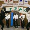 Photo/Reba Saldanha  Molly Sullivan Sliney, left, spars with student Ashley Goland of Boxford at the Tanner City Fencers Club practice at Higgins Middle School Wednesday April 6, 2016
