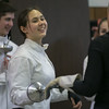 Photo/Reba Saldanha  Jillian Wong of Haverhill gets instruction from Molly Sulluvab Sliney of the Tanner City Fencers Club at Higgins Middle School Wednesday April 6, 2016