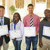 KEN YUSZKUS/Staff photo.    Salem High School students, from left, Renne Venico, Brenda Karanja, Ely Cruz, and Clarence Aroke received the Salem Rotary Club's Leadership and Service Award.      05/24/16