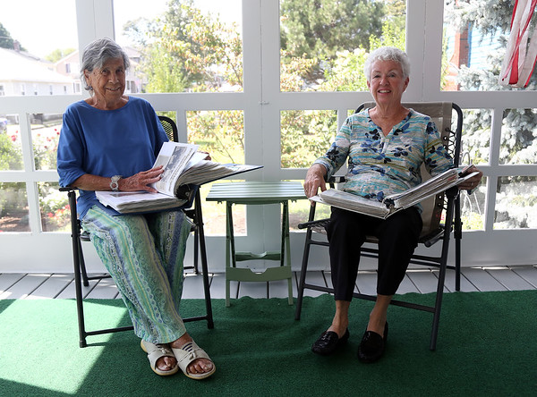 """DAVID LE/Staff photo. Patricia """"Pat"""" Morency, right, and Liz Fleming, left, are two almost life-long Willows residents. They have been compiling the Willows history for around 50 years. 8/29/16."""