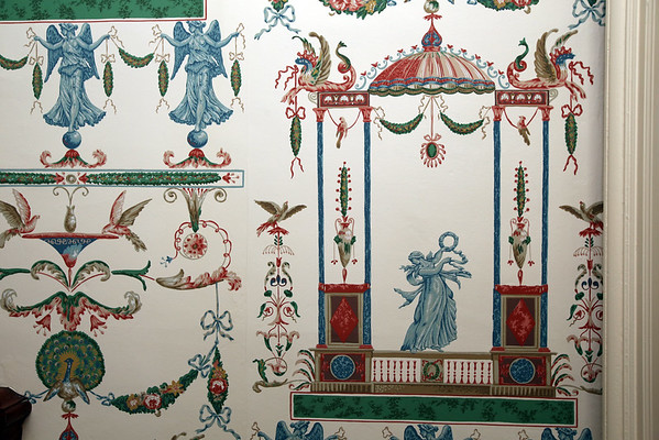 KEN YUSZKUS/Staff photo   A close up of the wallpaper in the hallway at Jeff Beale's house at 40 Chestnut t., Salem.    08/19/16