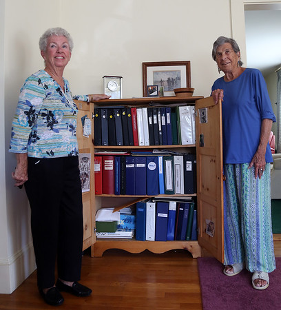 "DAVID LE/Staff photo. Patricia ""Pat"" Morency, left, and Liz Fleming, right, are two almost life-long Willows residents. They have been compiling the Willows history for around 50 years. 8/29/16."
